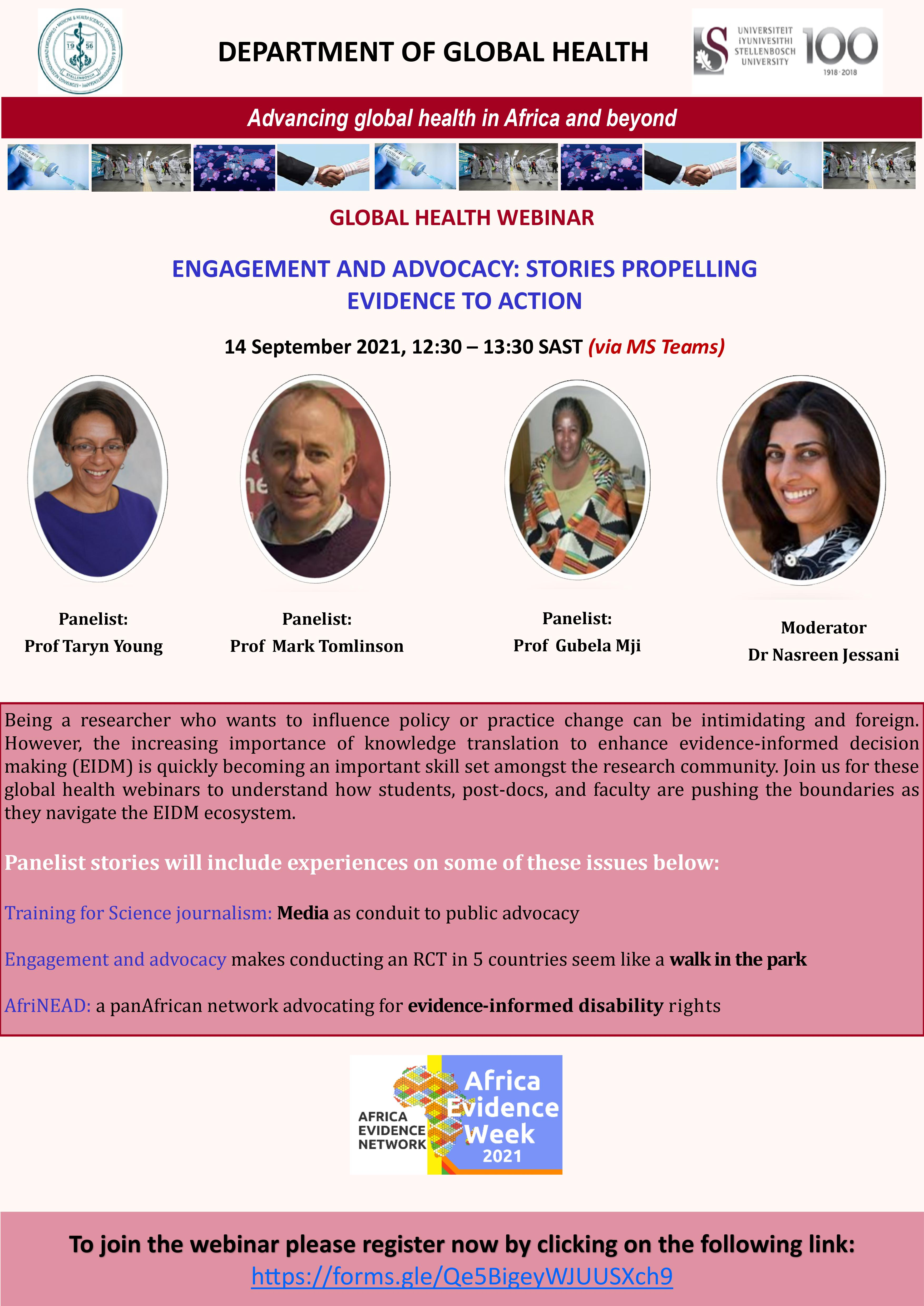 Africa Evidence Week 2021 event: Engagement and advocacy: stories propelling evidence to action