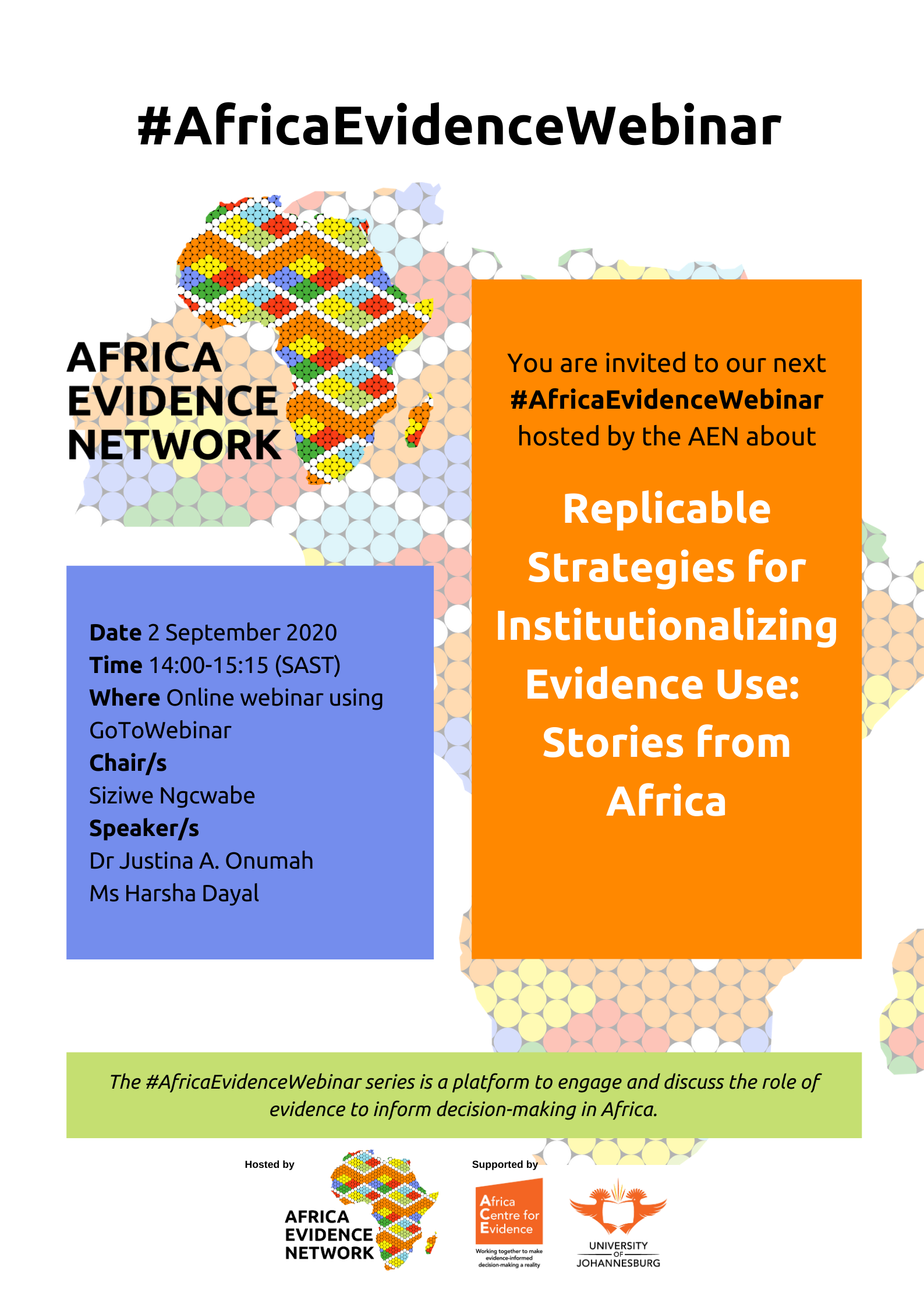 #AfricaEvidenceWebinar | Replicable Strategies for Institutionalizing Evidence Use: Stories from Africa
