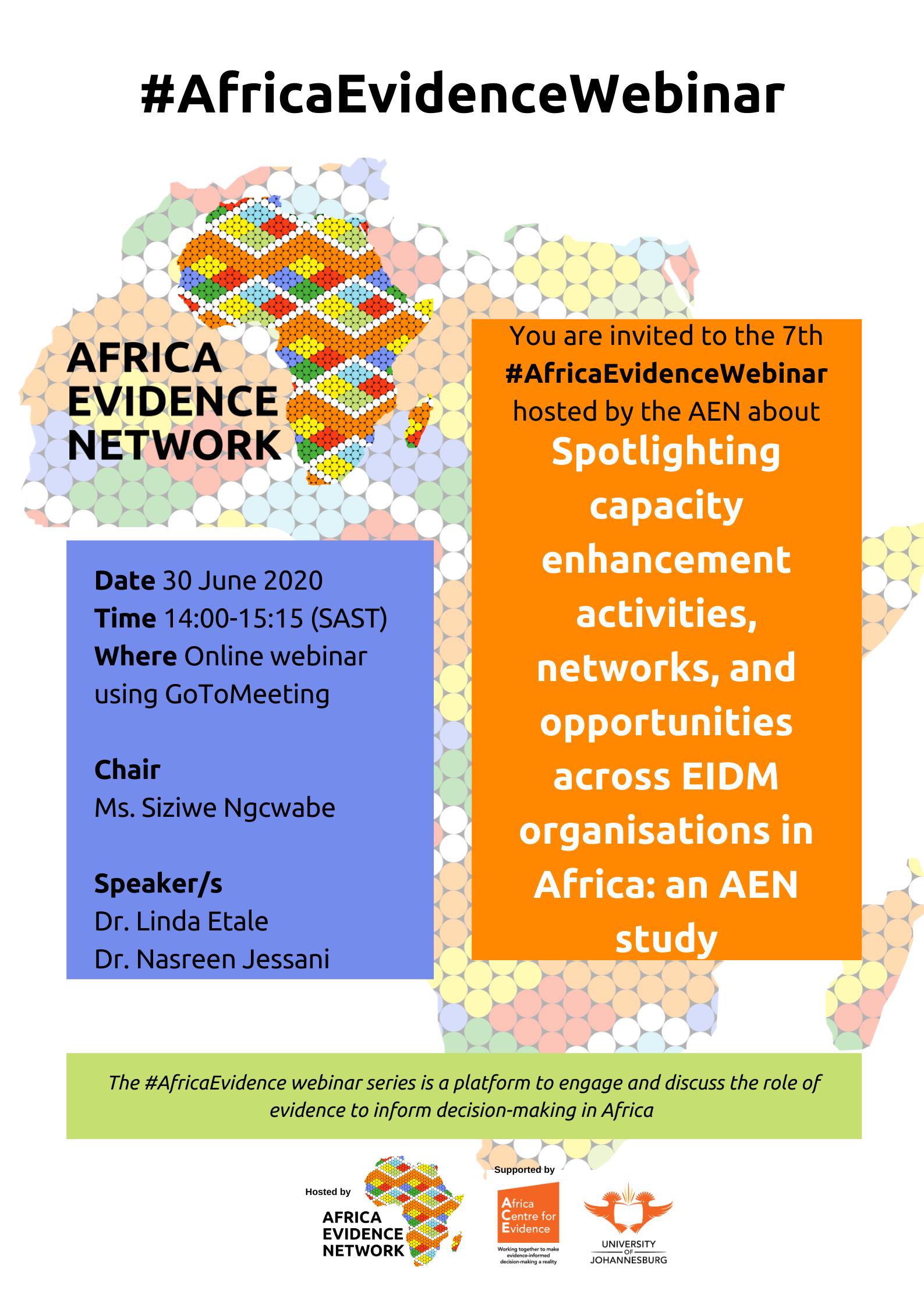 Africa Evidence Webinar #7: Spotlighting capacity enhancement activities, networks, and opportunities across EIDM organisations in Africa: an AEN study