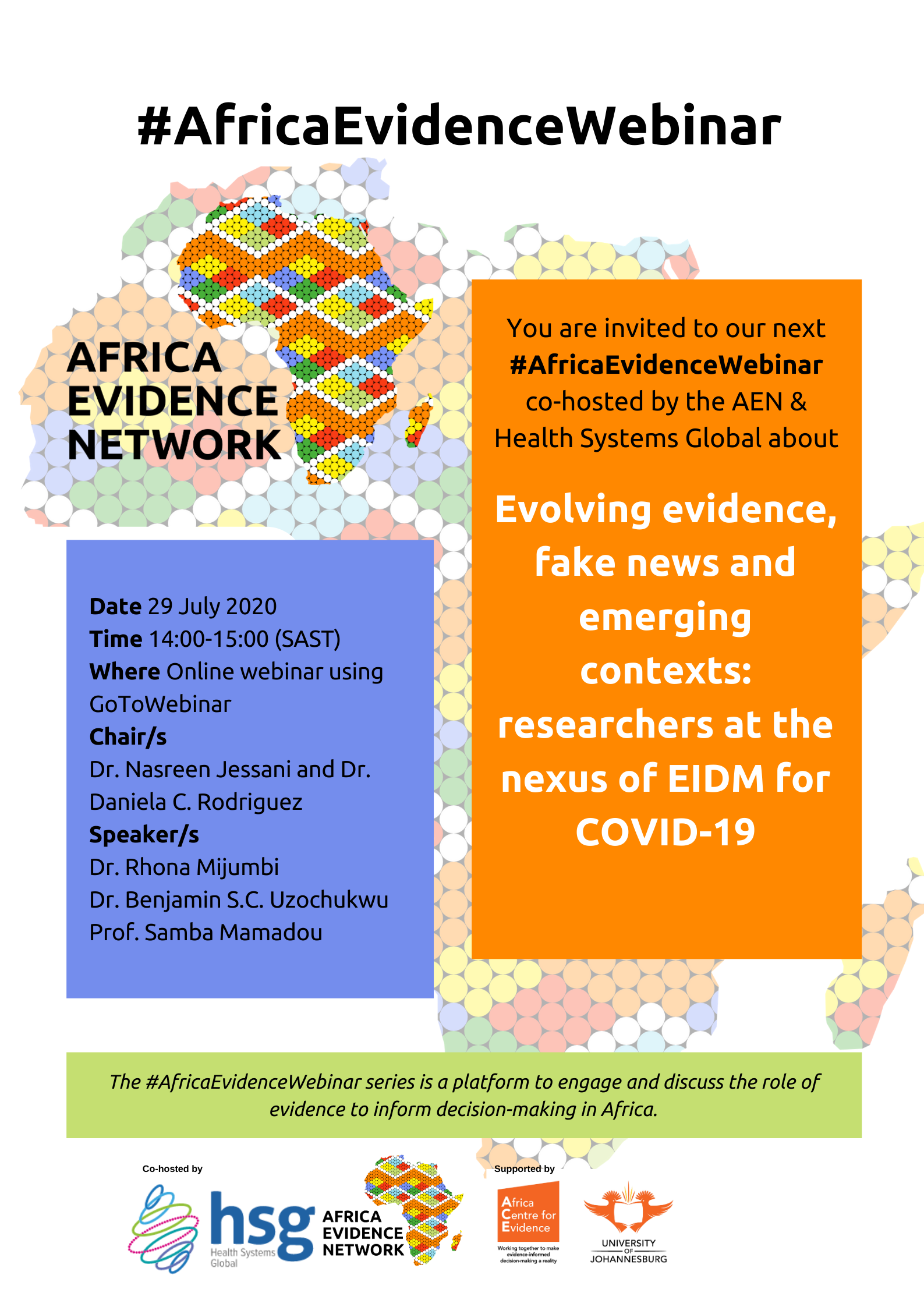 Africa Evidence Webinar #8: Evolvingevidence, fake news, and emerging contexts: researchers at the nexus of EIDM for COVID-19