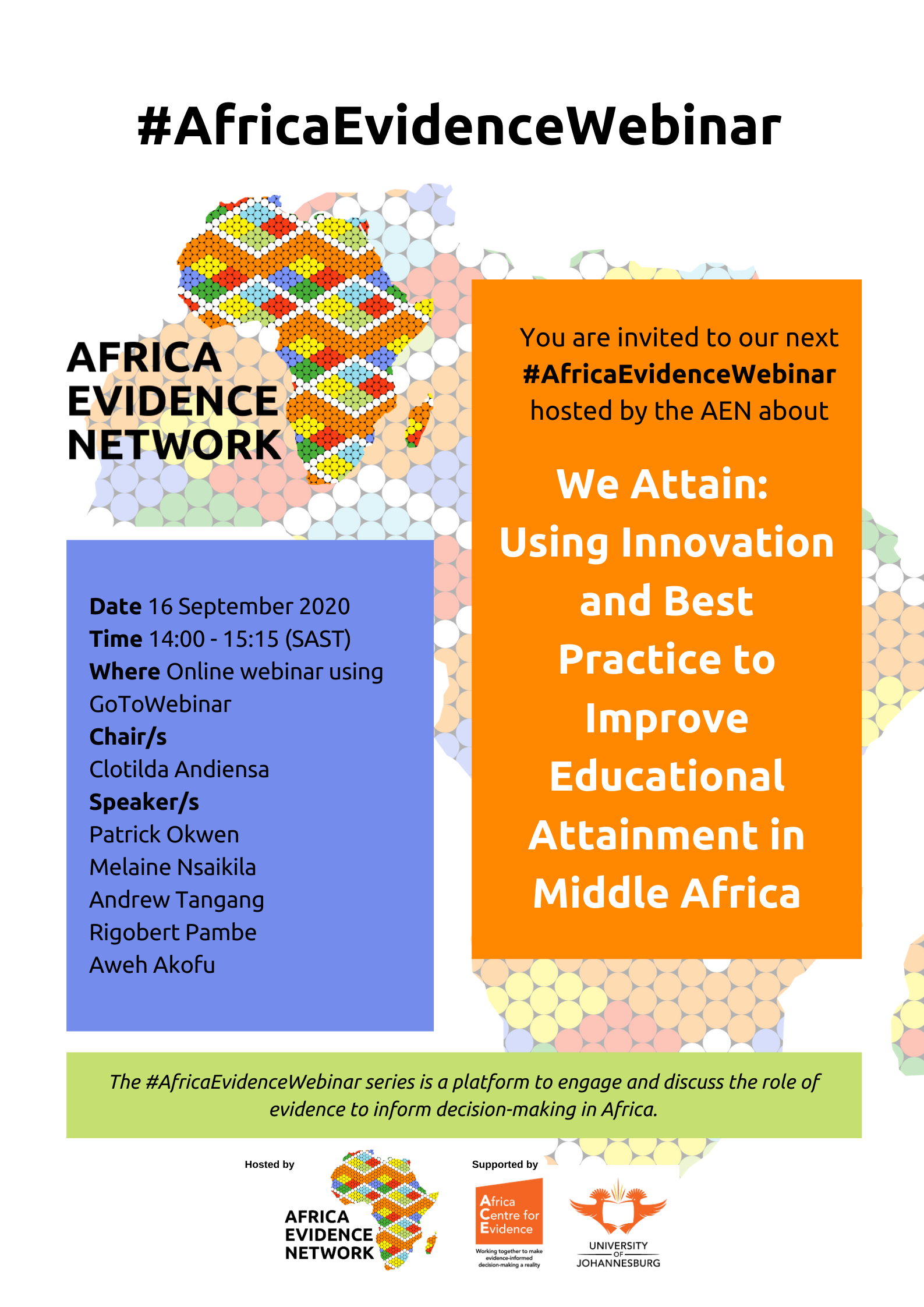 #AfricaEvidenceWebinar | We attain: using innovation and best practice to improve educational attainment in Middle Africa