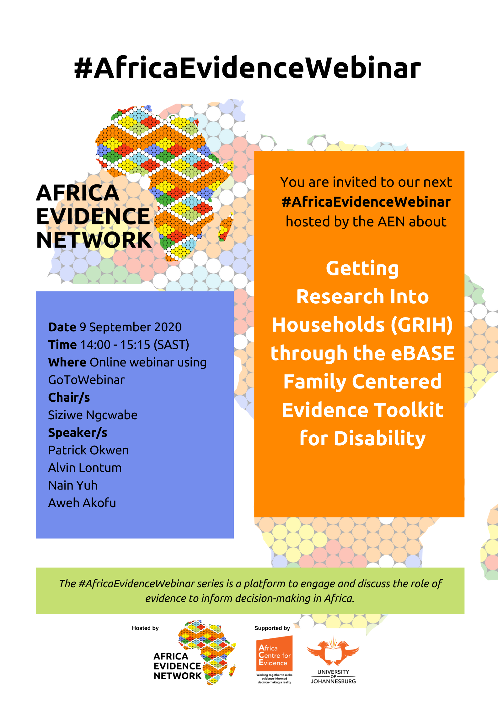 #AfricaEvidenceWebinar | Getting research into households (GRIH) through the eBASE family-centred evidence toolkit for disability