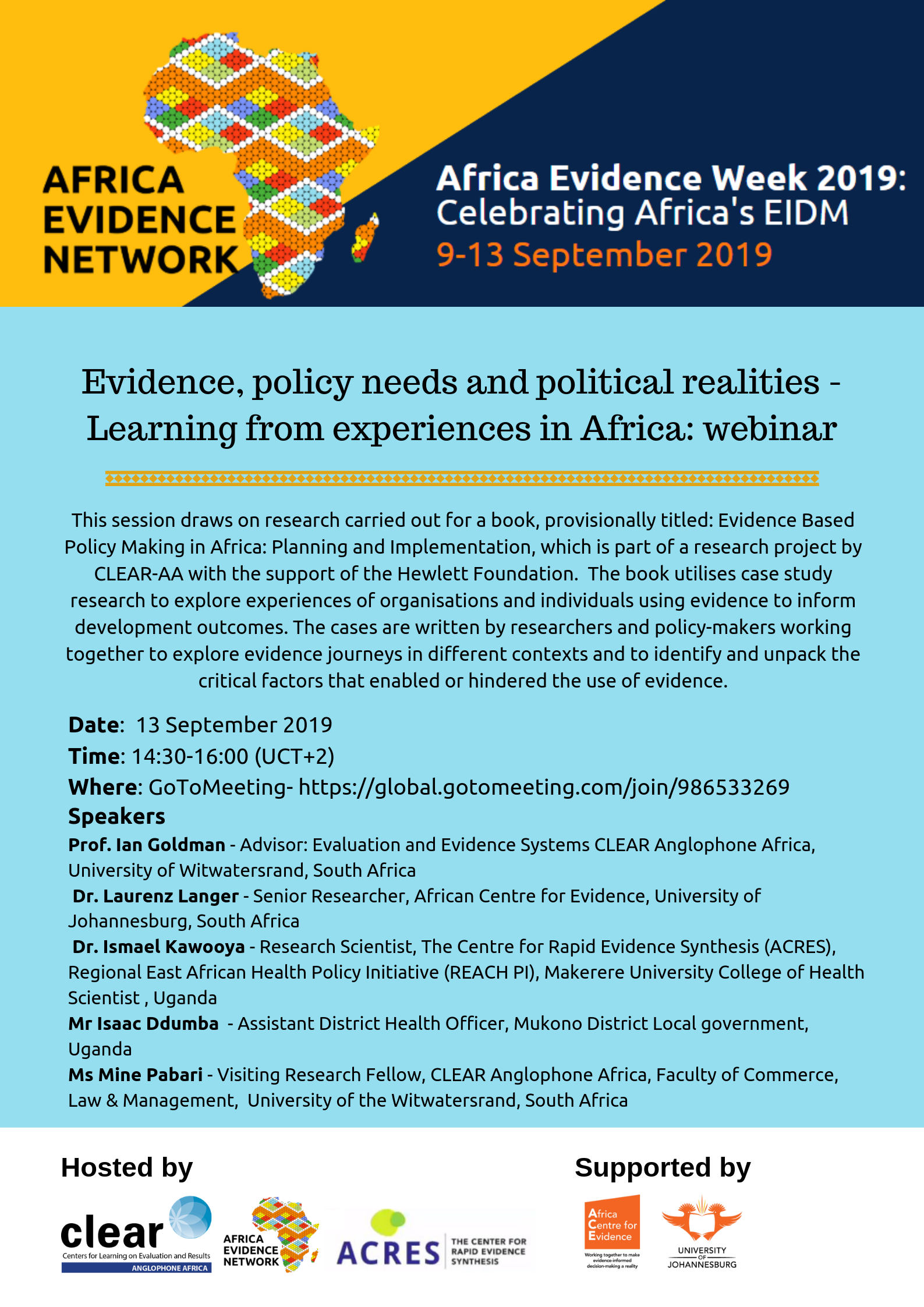 Evidence, policy needs and political realities - Learning from experiences in Africa