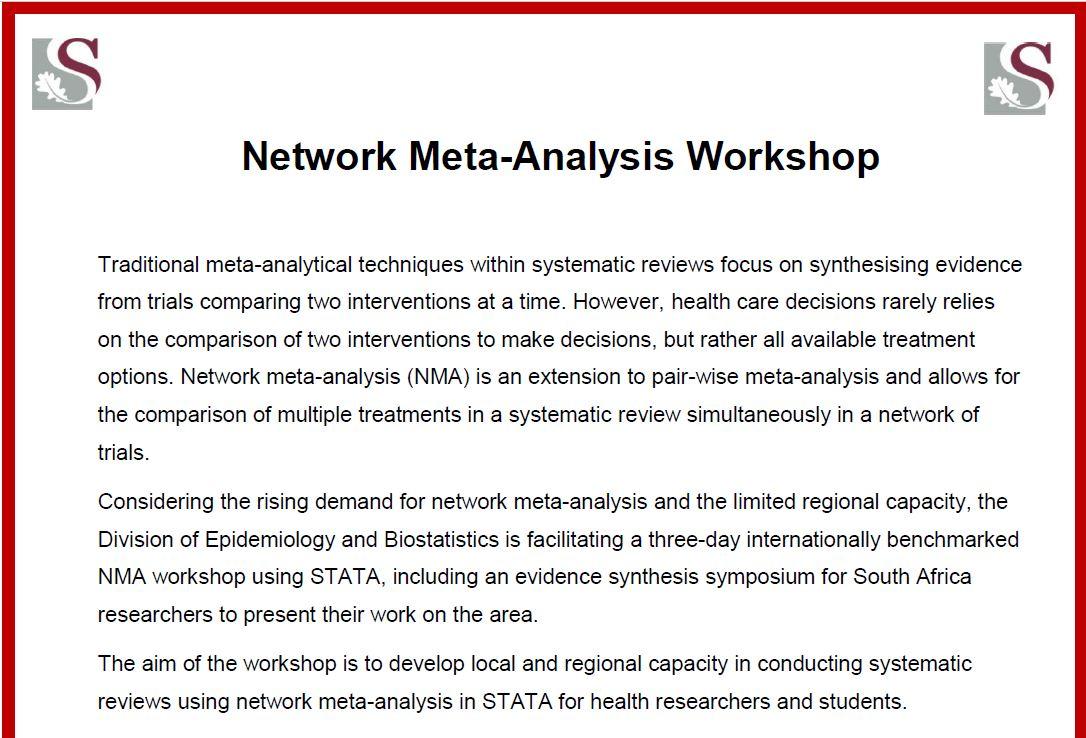 Network Meta-Analysis Workshop