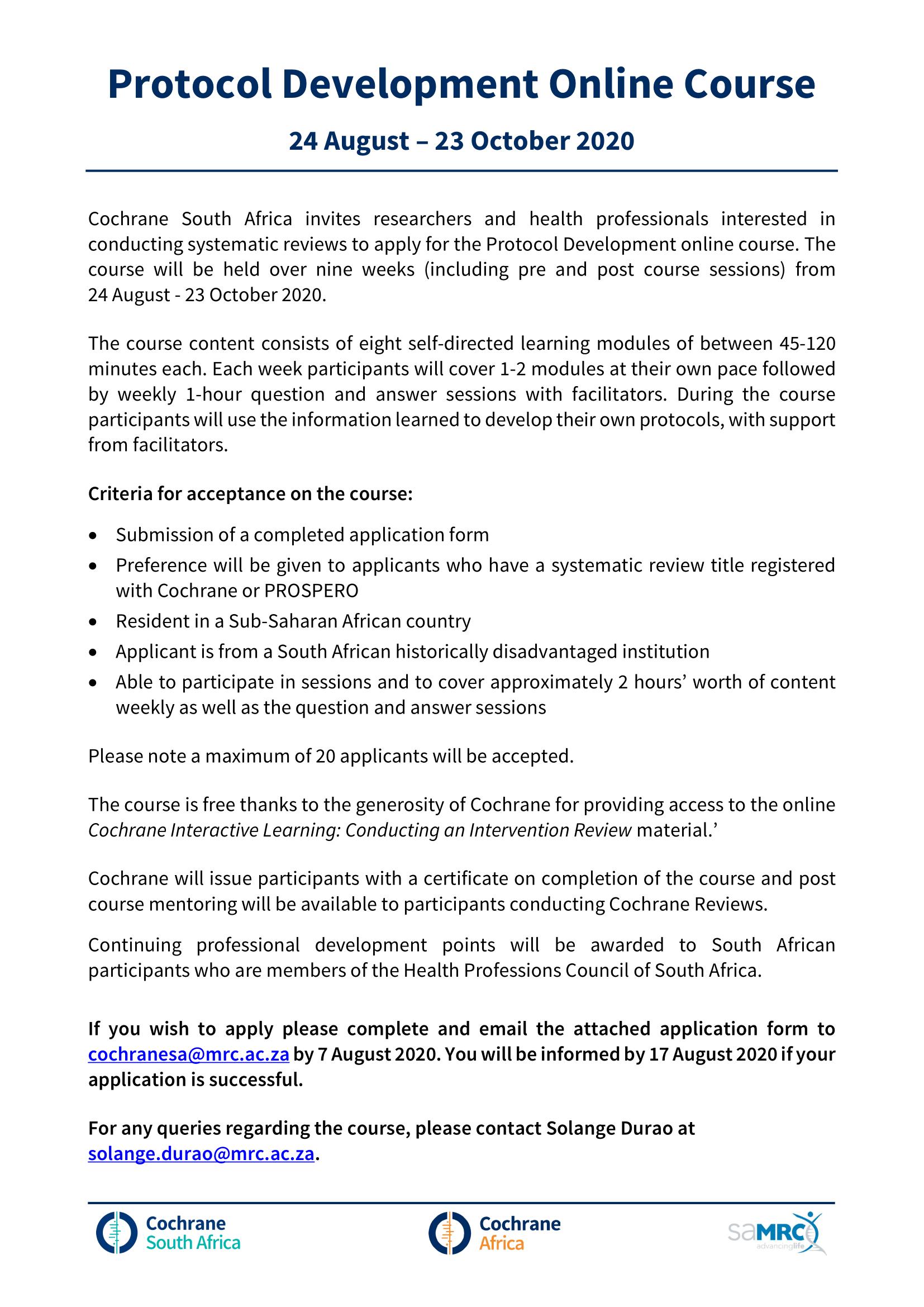 Protocol development online course