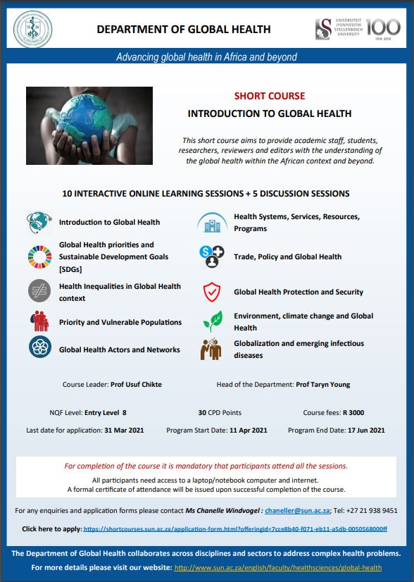SHORT COURSE: INTRODUCTION TO GLOBAL HEALTH
