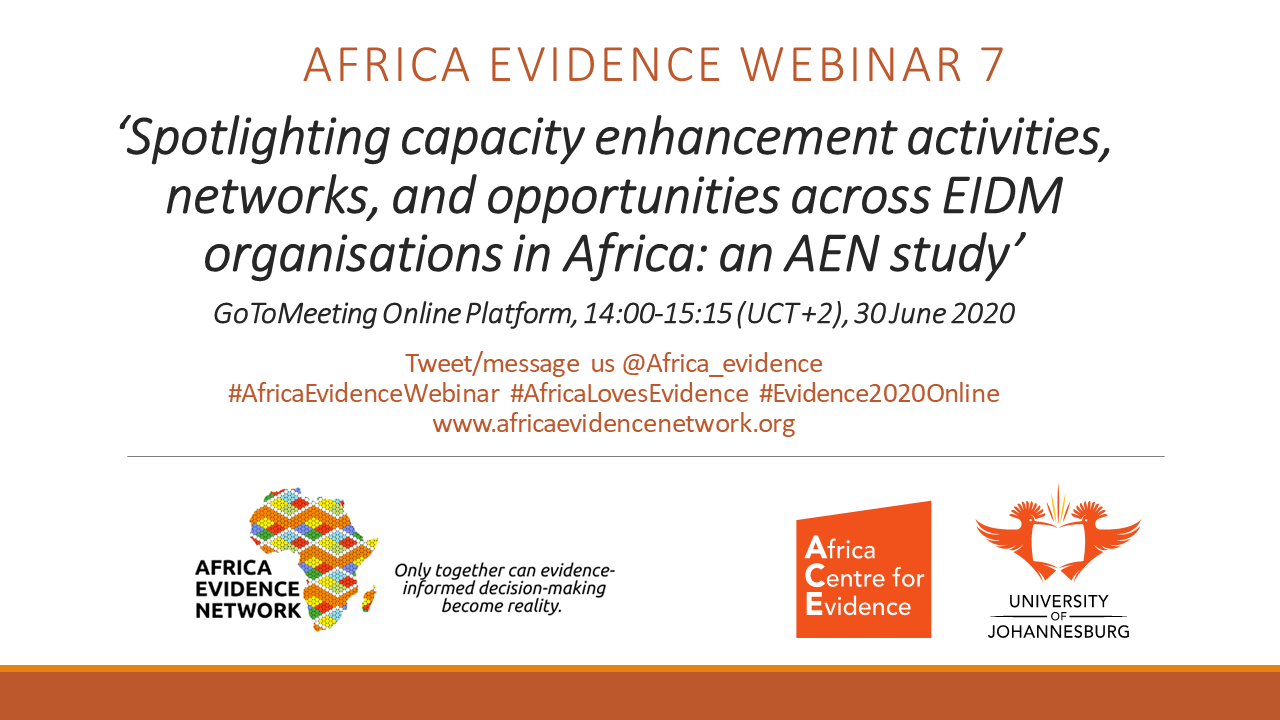EVENT UPDATE | Africa Evidence Webinar #7: Spotlighting capacity enhancement activities, networks and opportunities across EIDM organisations