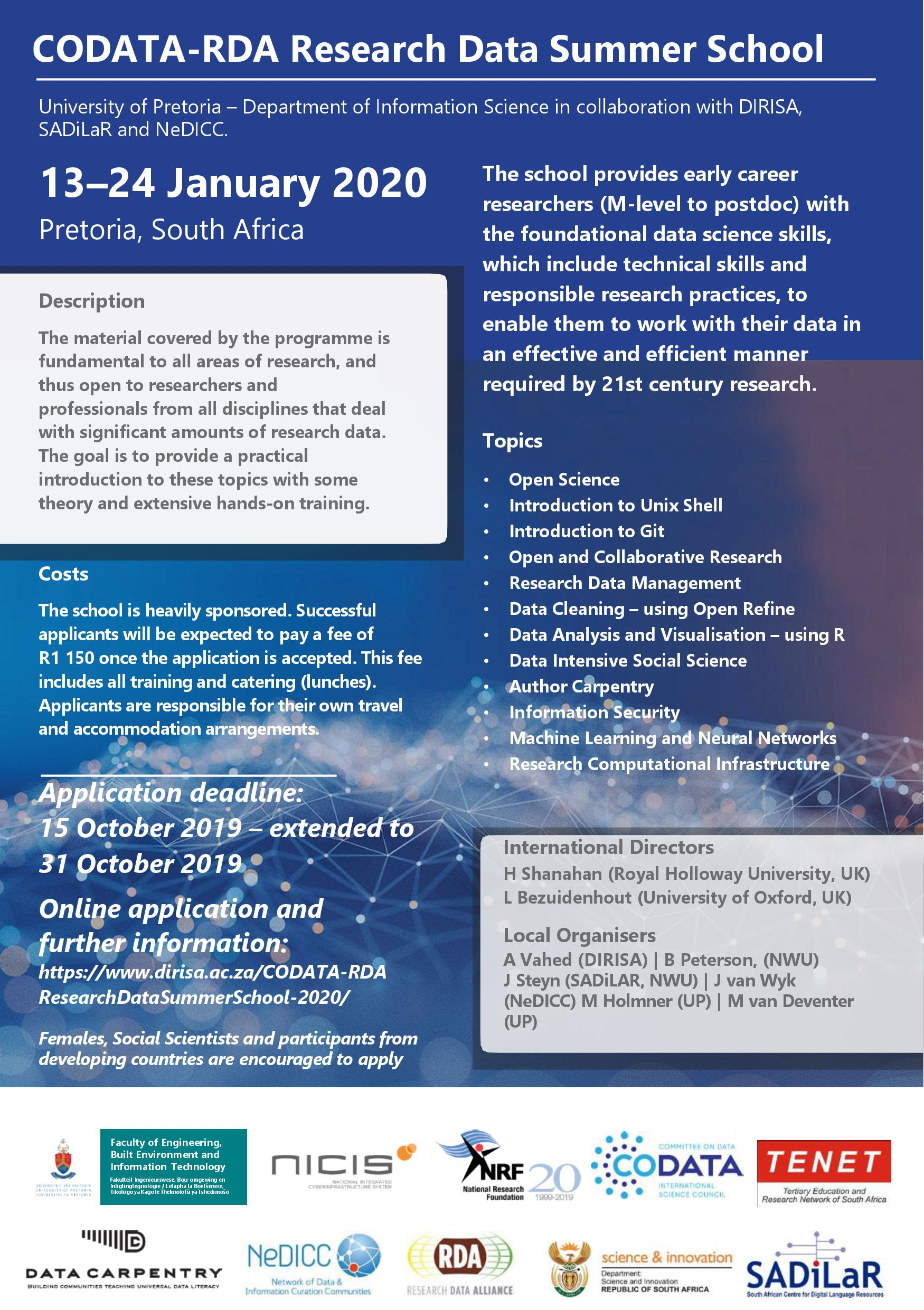 Call for Applications - The CODATA-RDA Research Data Science School, Pretoria 13- 24 January 2020