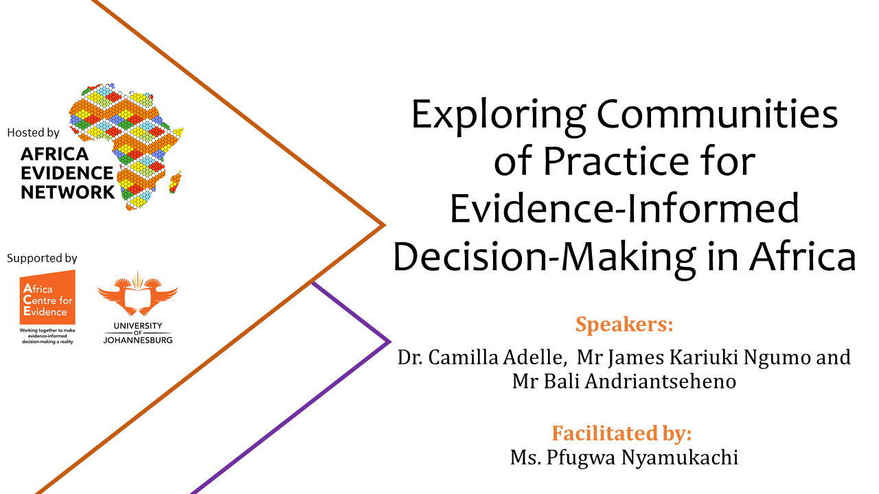 EVENT UPDATE | #AfricaEvidenceWebinar | Exploring communities of practice for evidence-informed decision-making in Africa