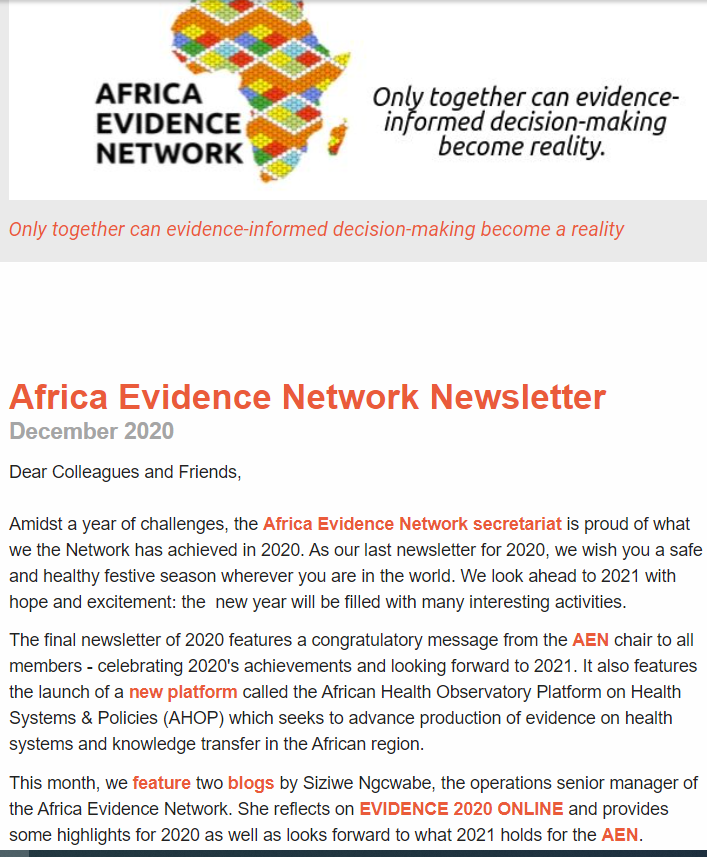 AEN December 2020 newsletter