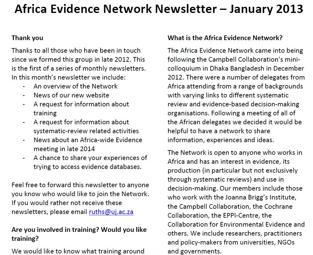 AEN January 2013 newsletter