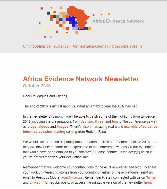 AEN October 2018 newsletter
