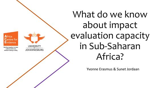Africa Evidence Webinar #6: What do we know about impact evaluation capacity in Sub-Saharan Africa?