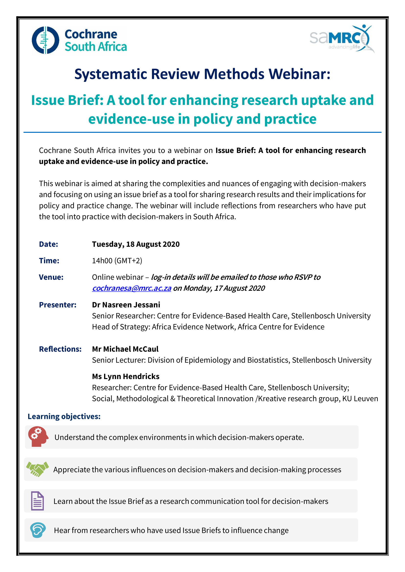 Issue brief: A tool for enhancing research uptake and evidence-use in policy and practice