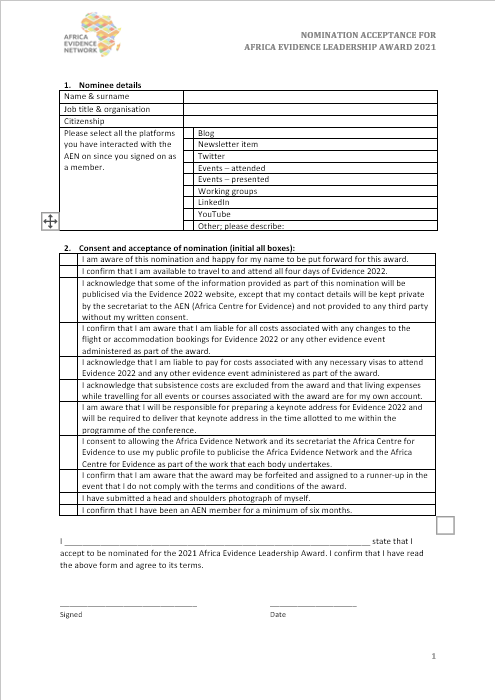 Africa Evidence Leadership Award - confirmation form