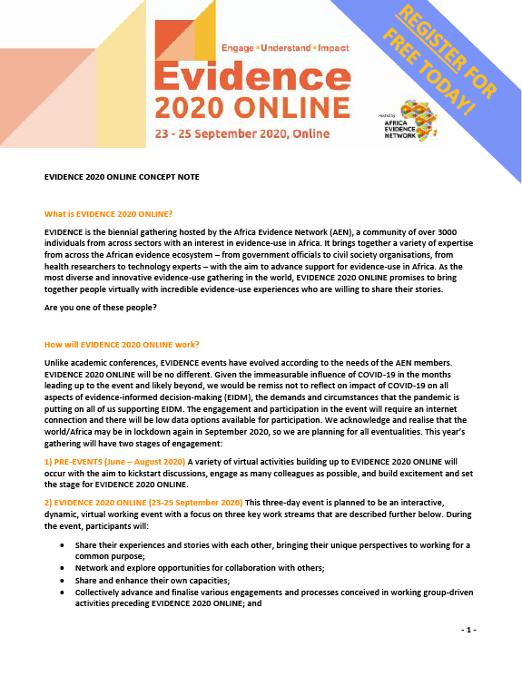 EVIDENCE 2020 ONLINE concept note