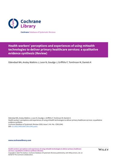 Health workers' perceptions and experiences of using mHealth technologies to deliver primary healthcare services: a qualitative evidence synthesis
