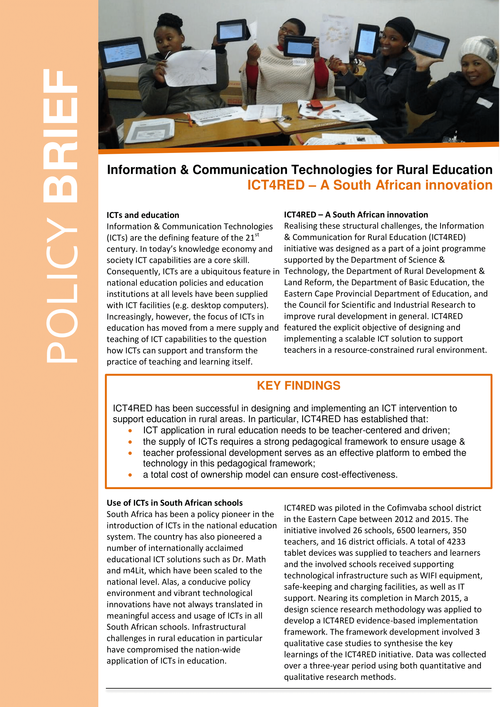 Information and Communication Technologies for Rural Education (ICT4RED) policy brief