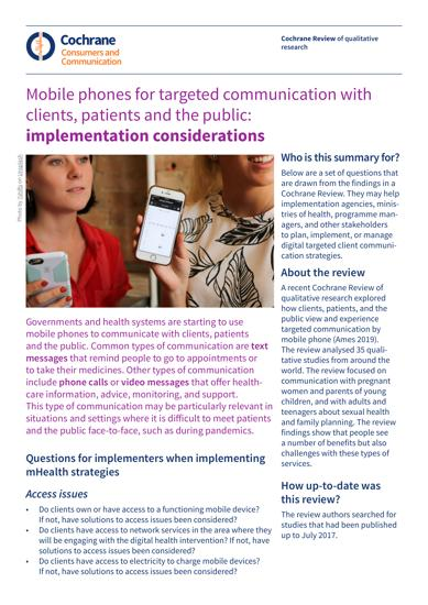 Mobile phones for targeted communication with clients, patients and the public: implementation considerations
