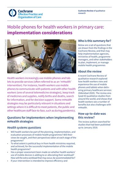 Mobile phones for health workers in primary care: implementation considerations