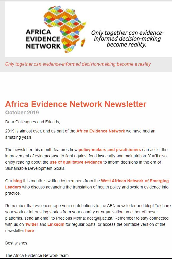 AEN October 2019 newsletter