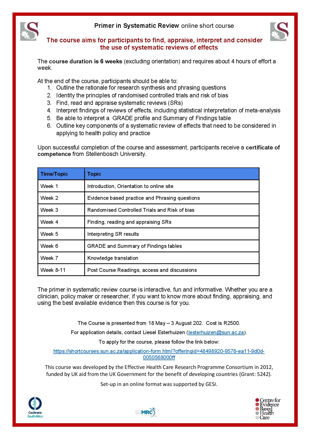 Primer in Systematic Review online short course