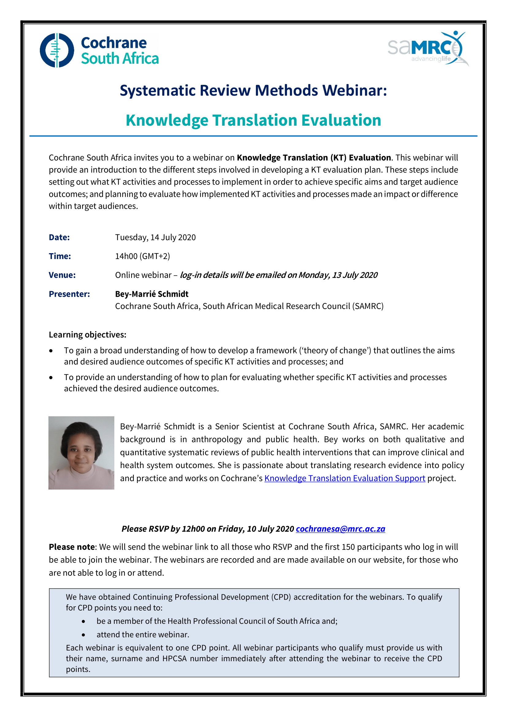 Systematic Review Methods Webinar: Knowledge Translation Evaluation