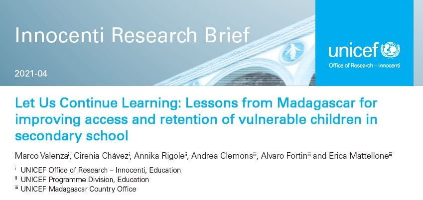 UNICEF Innocenti Research Brief - Let Us Continue Learning (Madagascar)